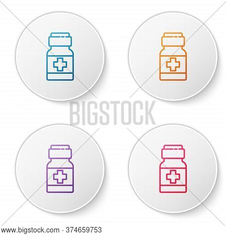 Color Line Medicine Bottle And Pills Icon Isolated On White Background. Medical Drug Package For Tab