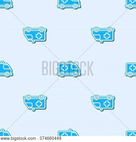 Blue Line Ambulance And Emergency Car Icon Isolated Seamless Pattern On Grey Background. Ambulance V