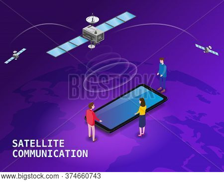Global Internet Satellite Communication. Satellites Flying Orbital Upon Earth Wireless Technology Sm
