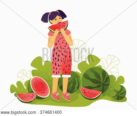 Girl In A Beautiful Jumpsuit Eating A Watermelon. Attractive Illustration For Watermelon Day. Red Be