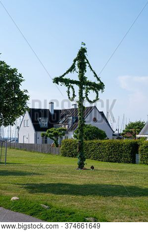 No Signs Of People Around The Maypole On Midsummer In Sweden As People Are In Self Quarantine