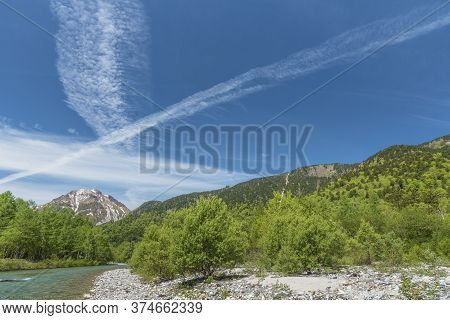 Idyllic Natural Landscape Of Kamikochi, Nagano, Japan