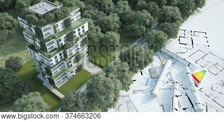 3D rendering of a sustainable modern apartment building  with blueprints, energy efficiency charts