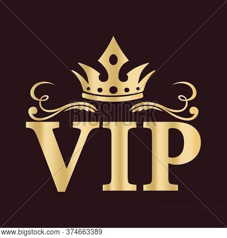 Gold Vip Sign, Emblem With A Crown, On A Dark Background. A Symbol Of Luxury, Premium Quality, Exclu