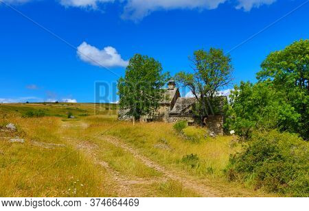 typical farm house of Mejean Causse, Lozere in France, Cevennes