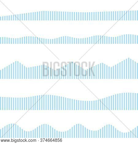 The Amplitude Of Sound Vibrations In The Form Of A Blue Wave. Vector, Cartoon Illustration.