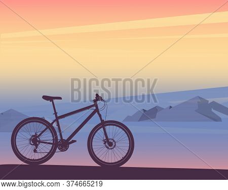 Silhouette Of Bicycle Sunset Or Sunrise, Mountain Landscape. Vector