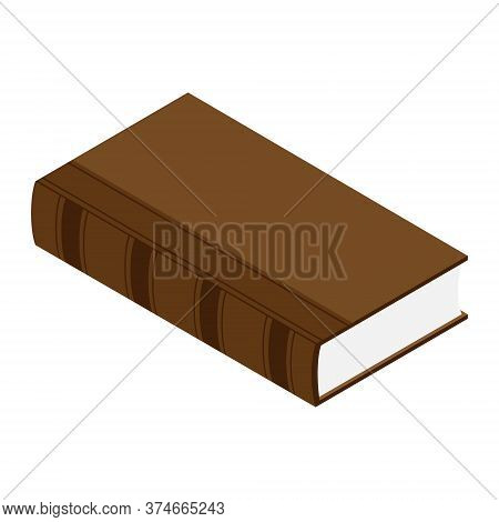 Old Brown Book Isometric View Isolated On White Background