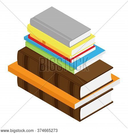 Stack Of Book Isometric View Isolated On White Background