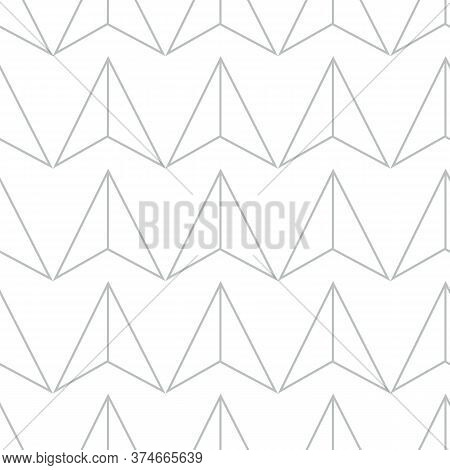 Abstract Geometric Pattern With Lines, Triangles Seamless Vector Background. White And Silver Textur