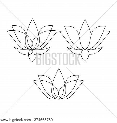 Set Of Stylized Lotuses. Collection Of Lotus Flowers For A Logo. Black White Vector Illustration. Ta