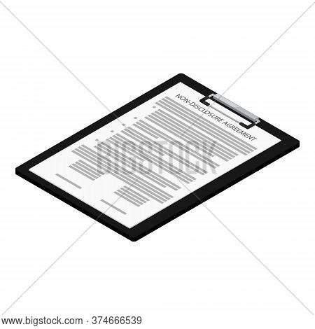 Non-disclosure Agreement Document With Stamps Isometric View Isolated On White Background. Nda Conce