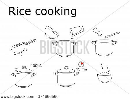 How To Cook Rice With Few Ingredients Easy Recipe. Instruction On Rice Making Process For Breakfast.
