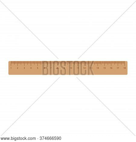 Retro Wooden Ruler Isolated On A White Background. Measuring Ruler. Vector