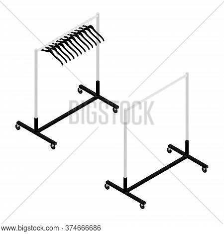 Empty Clothing Wardrobe Rack With Hangers Isometric View Isolated On White Background Vector