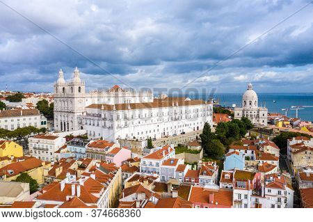 Alfama Hill In Lisbon From Above - Aerial Drone Footage