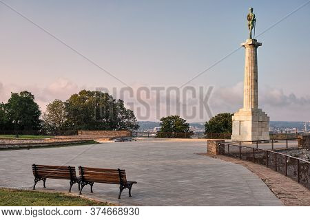 Plateau On Belgrade Fortress With Victor Monument Commemorating Allied Victory In The First World Wa
