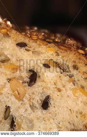 Diet Food Background. Fief Grains Bread Crumb Surface. Flax Seeds Bread Crumb Texture.