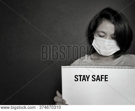 Stay Safe Text On Paper. Stock Photo.
