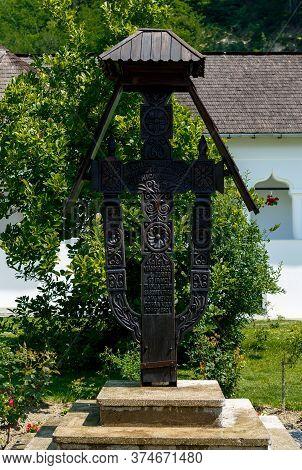 Surpatele, Valcea, Romania - July 02, 2020:  Crucifix Built In Memory Of The Heroes Tudor Vladimires