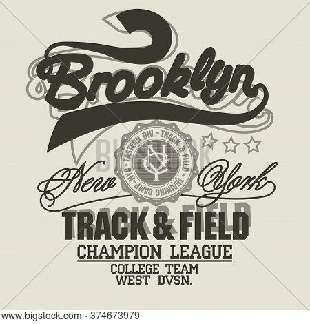 Brooklyn T-shirt Graphics. New York Athletic Apparel Design. Vector