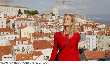 Young Woman At Portas Do Sol In The City Of Lisbon Alfama - Travel Photography