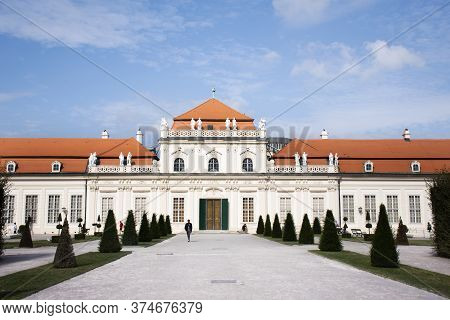 Classic Retro Building For Austrian People And Foreign Travelers Travel Visit And Walking Entrance B