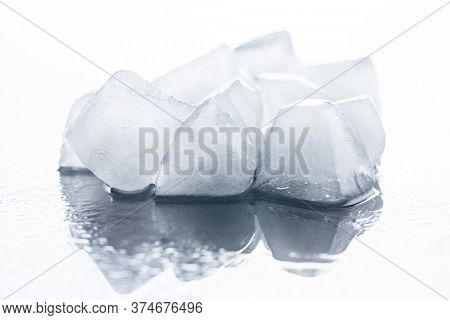 A lot of cold ice cubes.
