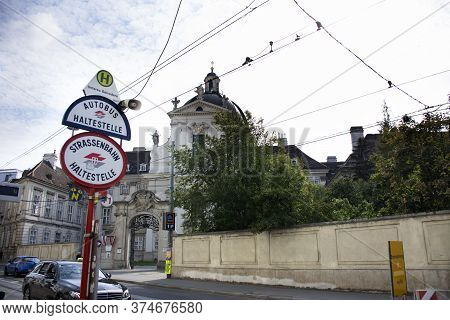 Bus And Tram Stop Station For Austrians People And Foreign Travelers Passengers Go To Travel Visit B