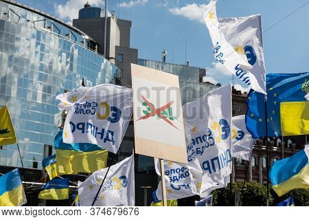 Kyiv, Ukraine - Jul. 01, 2020: Rally Against Political Persecution In Ukraine. Thousands Of People C