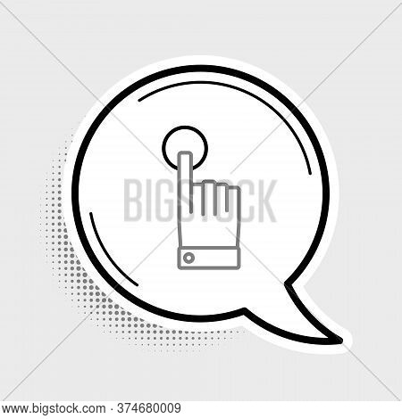 Line Hand Touch And Tap Gesture Icon Isolated On Grey Background. Click Here, Finger, Touch, Pointer