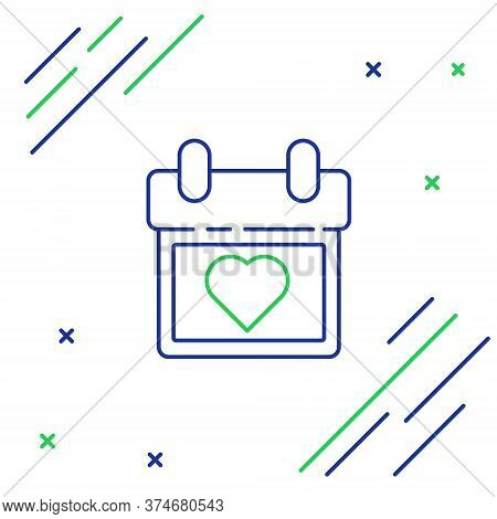 Line Calendar With Heart Icon Isolated On White Background. Valentines Day. Love Symbol. February 14
