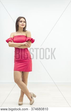 Beaty Concept. Full-length Shot Of Lovely Girl In Stylish Outfit, Going To Have Meeting.