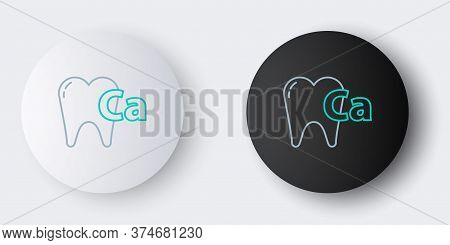 Line Calcium For Tooth Icon Isolated On Grey Background. Tooth Symbol For Dentistry Clinic Or Dentis