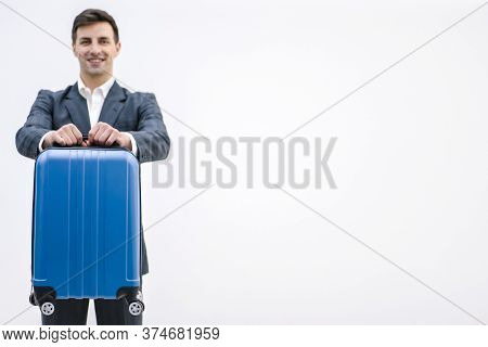 Luggage Rules Concept. Happy Man Ready For The Trip, Packed His Suitcase According To All The Rules