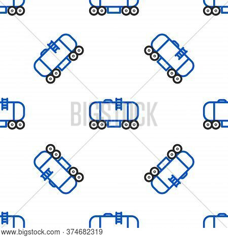 Line Oil Railway Cistern Icon Isolated Seamless Pattern On White Background. Train Oil Tank On Railw