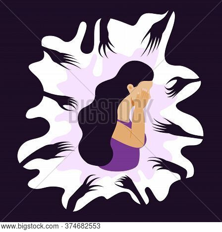 Panic Attack Of Woman Concept Vector. Fear Reaches Out To A Sad, Crying Woman. Depression, Sadness,