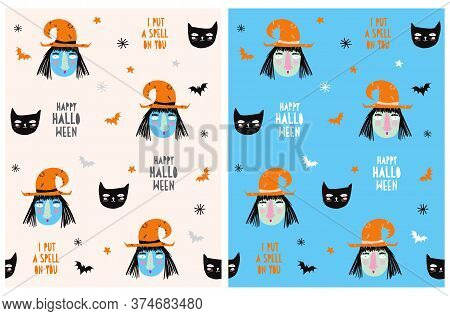 Cute Hand Drawn Halloween Seamless Vector Pattern. Funny Witch Wearing And Black Cat On A Blue And B