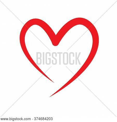 Heart Icon Vector Isolated On White Background. Heart Icon Line Red Flat