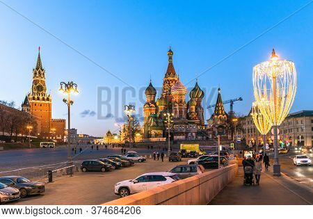 Moscow, Russia - Feb 21. 2020. Saint Basil Cathedral And Vasilevsky Descent Of Red Square In Moscow