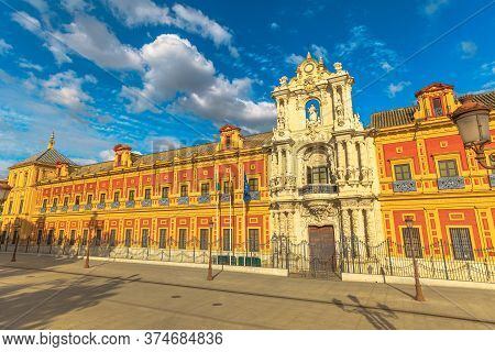 Seville, Andalusia, Spain - April 18, 2016: Palace Of San Telmo, Seat Of Presidency Of Andalusian Go