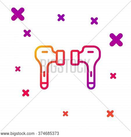 Color Line Air Headphones Icon Icon Isolated On White Background. Holder Wireless In Case Earphones