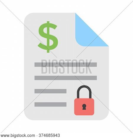 Private Access To Financial Statement. Accounting Papers With Locked Symbol. Modern Flat Icon For Fi