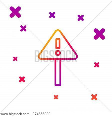 Color Line Exclamation Mark In Triangle Icon Isolated On White Background. Hazard Warning Sign, Care