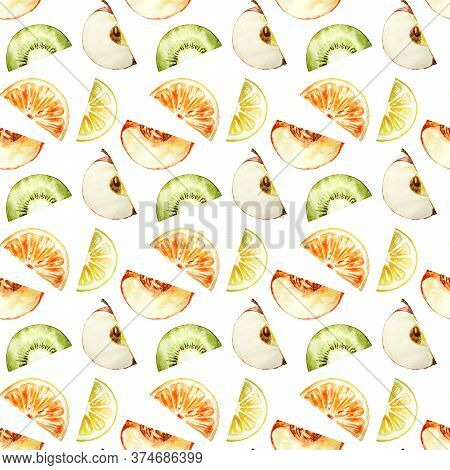 Seamless Pattern With Raw Fruits Isolated On The White Background. Half Of Fresh Fruits. Watercolor