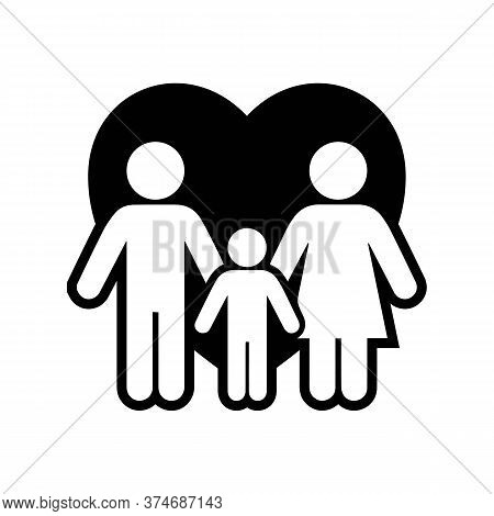 Icon Happy Family, Illustration Of Family, Mom, Dad And Son Go Holding Hands