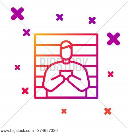Color Line Suspect Criminal Icon Isolated On White Background. The Criminal In Prison, Suspected Nea