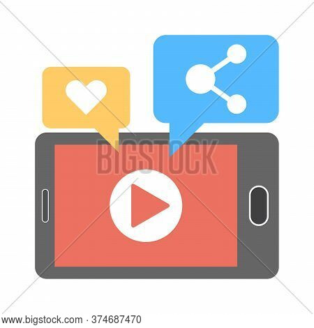 Viral Video Content Icon. Likes, Shares And Comments Popping Up On The Mobile Screen. Video Content
