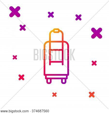 Color Line Suitcase For Travel Icon Isolated On White Background. Traveling Baggage Sign. Travel Lug