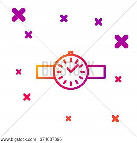 Color Line Wrist Watch Icon Isolated On White Background. Wristwatch Icon. Gradient Random Dynamic S